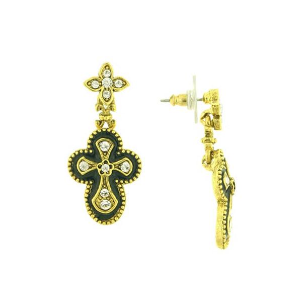 Gold-Tone Crystal and Black Enamel Gothic Cross Drop Earrings~28800