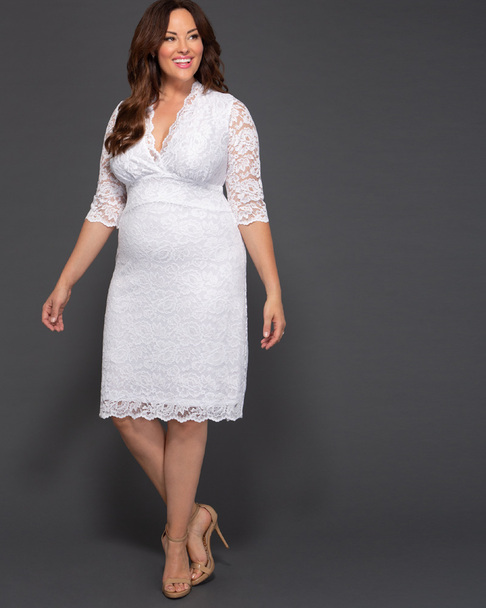 Kiyonna Women's Plus Size Luxe Lace Wedding Dress~White*19090901