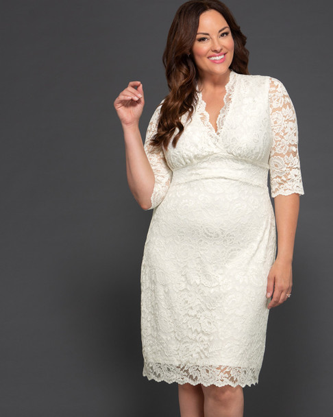 Kiyonna Women's Plus Size Luxe Lace Wedding Dress~Ivory/Cream*19090901