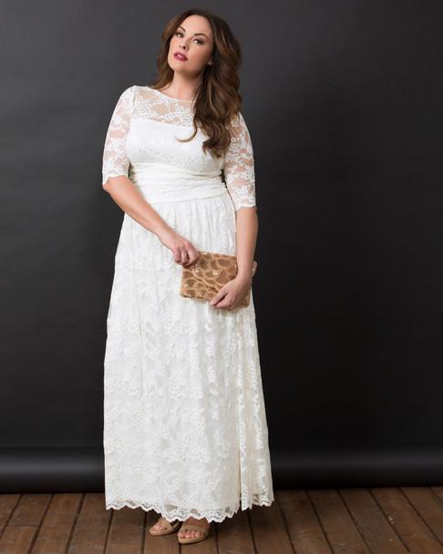 Kiyonna Women's Plus Size Lace Illusion Wedding Gown~14130904-IVY