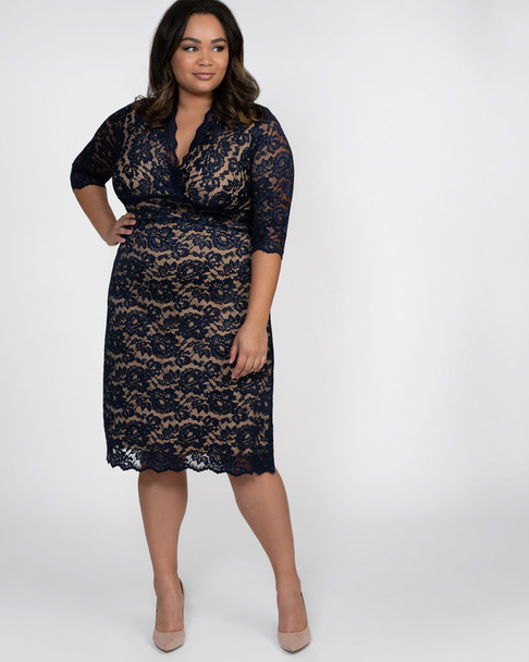 Kiyonna Women's Plus Size Scalloped Boudoir Lace Dress~Navy/Blue/Nude*12060902