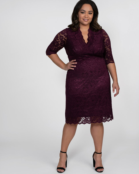 Kiyonna Women's Plus Size Scalloped Boudoir Lace Dress~Purple/Plum*12060902