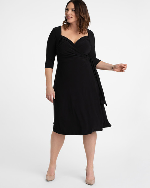 Kiyonna Women's Plus Size Sweetheart Knit Wrap Dress~Black*11112202
