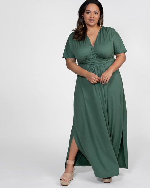 Kiyonna Women's Plus Size Vienna Maxi Dress~Green*14110109