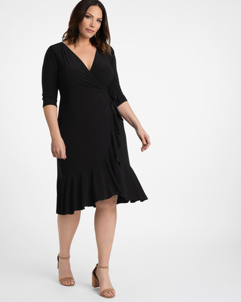Kiyonna Women's Plus Size Whimsy Wrap Dress~Black*11122201