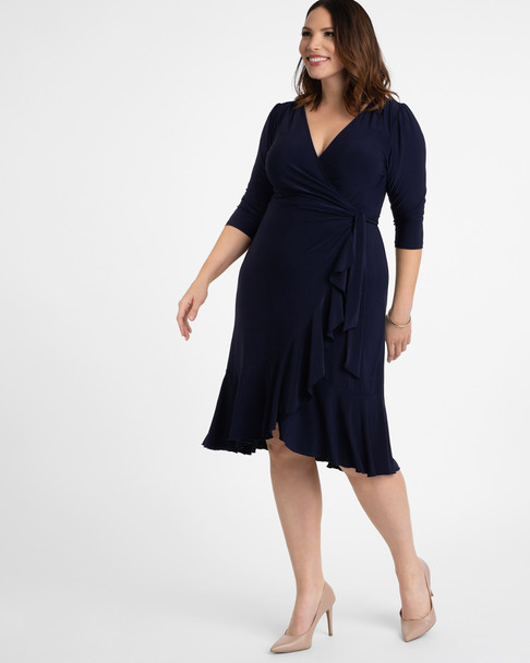 Kiyonna Women's Plus Size Whimsy Wrap Dress~Navy/Blue*11122201
