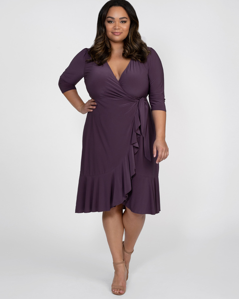 Kiyonna Women's Plus Size Whimsy Wrap Dress~Purple*11122201