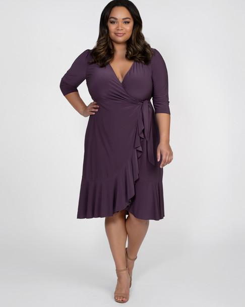 Kiyonna Women's Plus Size Whimsy Wrap Dress~Purple*11122201