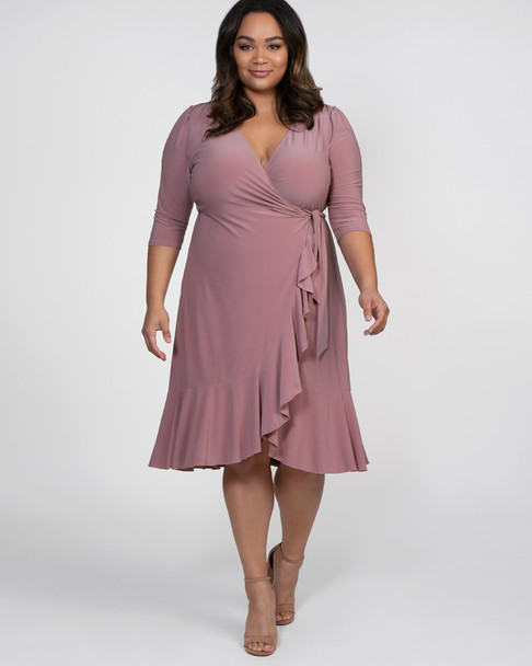 Kiyonna Women's Plus Size Whimsy Wrap Dress~Pink*11122201