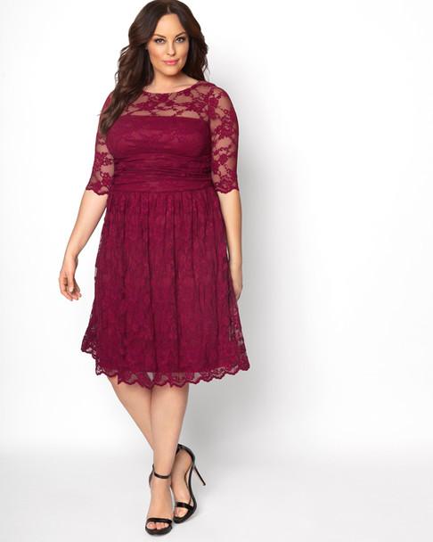 Kiyonna Women's Plus Size Luna Lace Dress~Red/Burgundy*12120901