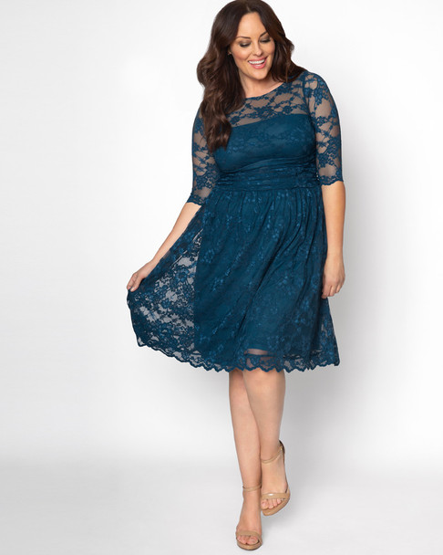 Kiyonna Women's Plus Size Luna Lace Dress~Blue*12120901