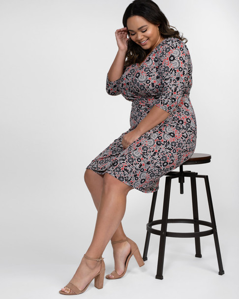 Kiyonna Women's Plus Size Ciara Cinch Dress~Floral*13122201