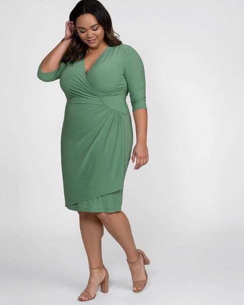 Kiyonna Women\'s Plus Size Ciara Cinch Dress~Green/Sage*13122201