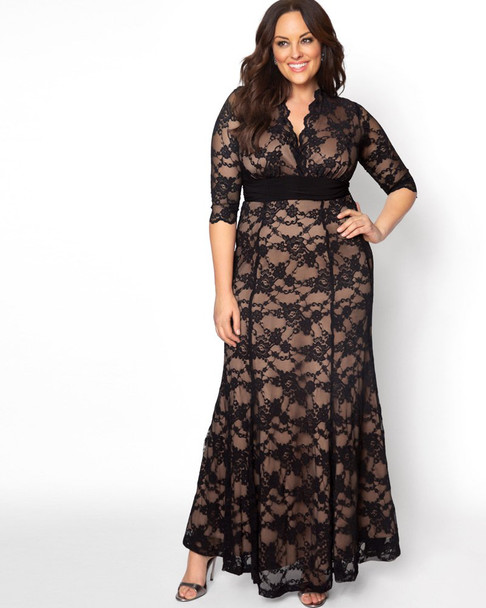 Kiyonna Women's Plus Size Screen Siren Lace Gown~Black/Nude*13130902