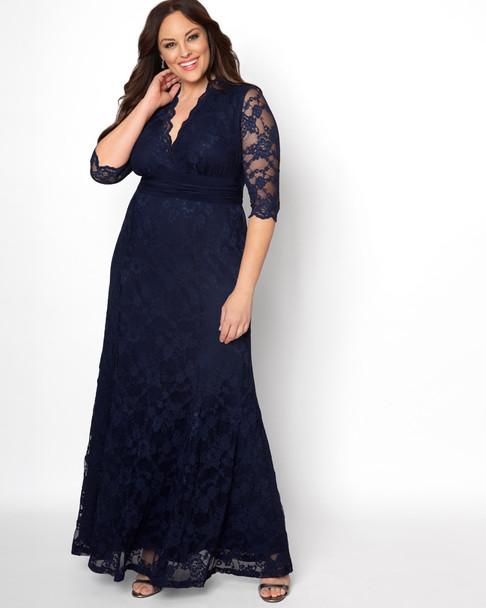 Kiyonna Women's Plus Size Screen Siren Lace Gown~Blue/Navy*13130902