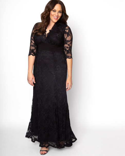 Kiyonna Women's Plus Size Screen Siren Lace Gown~Black*13130902