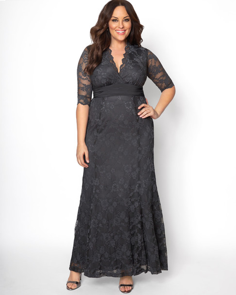 Kiyonna Women's Plus Size Screen Siren Lace Gown~Silver Grey*13130902