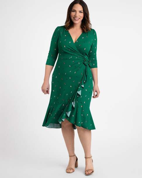 Kiyonna Women's Plus Size Flirty Flounce Wrap Dress~Green*12132207