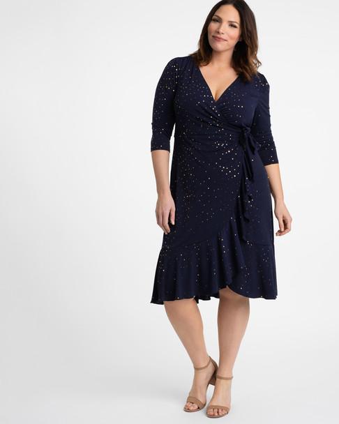 Kiyonna Women's Plus Size Flirty Flounce Wrap Dress~Blue/Navy*12132207