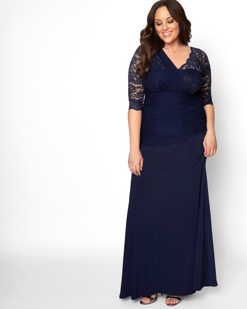 Kiyonna Women's Plus Size Soiree Evening Gown~Navy/Blue*13140903