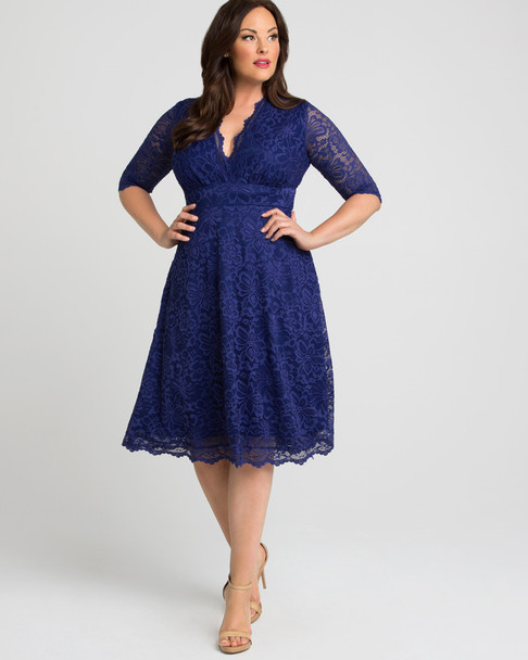 Kiyonna Women's Plus Size Mademoiselle Lace Dress~Blue/Royal/Sapphire*12150901