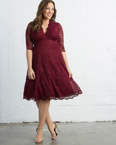 Kiyonna Women's Plus Size Mademoiselle Lace Dress~Red/Burgundy*12150901