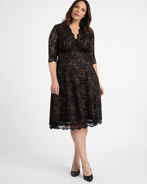 Kiyonna Women's Plus Size Mademoiselle Lace Dress~Black/Beige*12150901