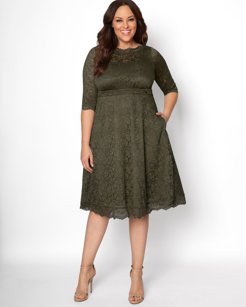 Kiyonna Women's Plus Size Lacey Cocktail Dress~Olive*12170902