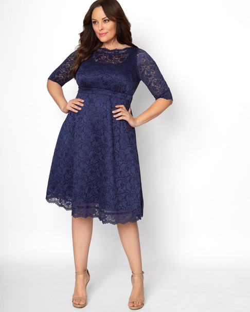 Kiyonna Women's Plus Size Lacey Cocktail Dress~Navy*12170902
