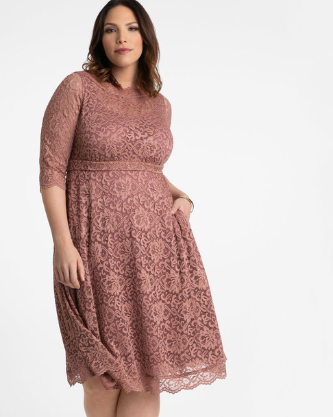Kiyonna Women's Plus Size Lacey Cocktail Dress~Pink*12170902
