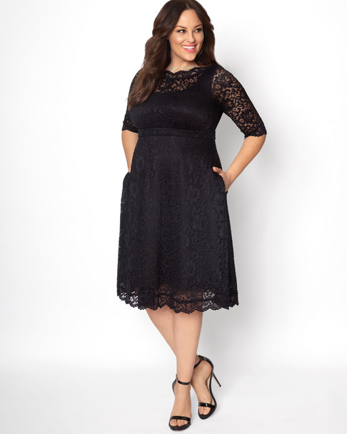 Kiyonna Women's Plus Size Lacey Cocktail Dress~Black*12170902