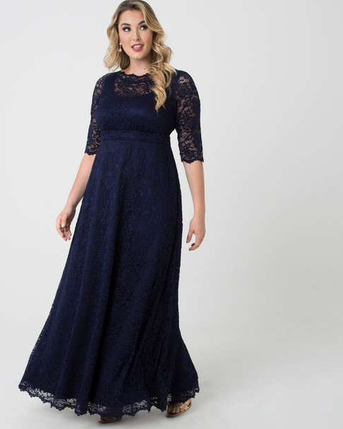 Kiyonna Women's Plus Size Leona Lace Gown~Navy*1180902