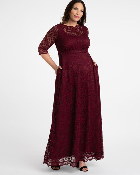 Kiyonna Women's Plus Size Leona Lace Gown~Red/Burgundy*1180902