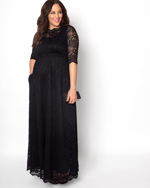 Kiyonna Women's Plus Size Leona Lace Gown~Black*1180902