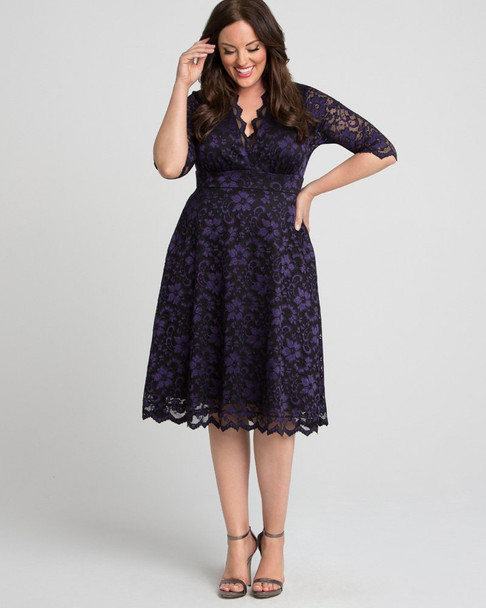 Kiyonna Women's Plus Size Mon Cherie Lace Dress~Black/Purple/Blue*1180906