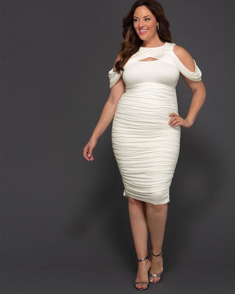 Kiyonna Women's Plus Size Melissa Midi Dress~White/Ivory*13181810