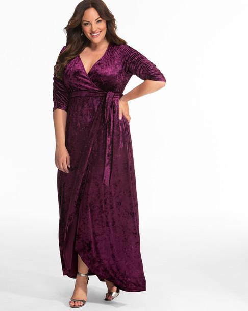 Kiyonna Women's Plus Size Cara Velvet Wrap Dress~Purple/Plum*13183002