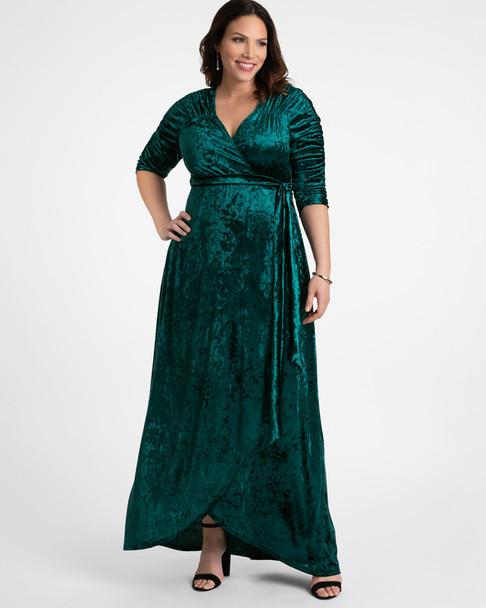 Kiyonna Women's Plus Size Cara Velvet Wrap Dress~Green/Teal*13183002