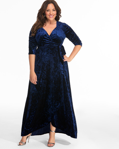 Kiyonna Women's Plus Size Cara Velvet Wrap Dress~Blue*13183002