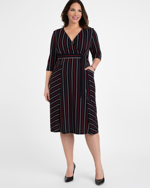 Kiyonna Women's Plus Size Harmony Faux Wrap Dress~13183205-NVY