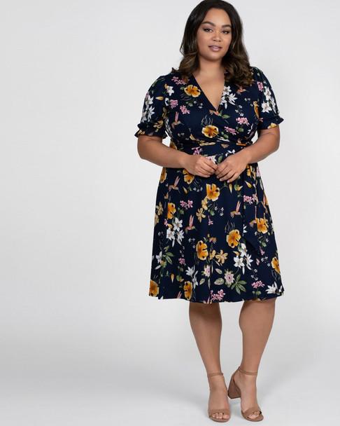 Kiyonna Women's Plus Size Tuscan Tie Wrap Dress~Blue/Navy/White*11191301