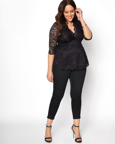 Kiyonna Women's Plus Size Linden Lace Top~Black*21120905