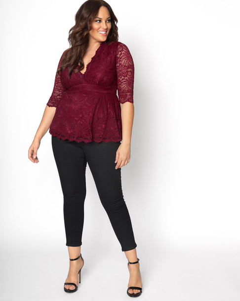 Kiyonna Women's Plus Size Linden Lace Top~Red*21120905
