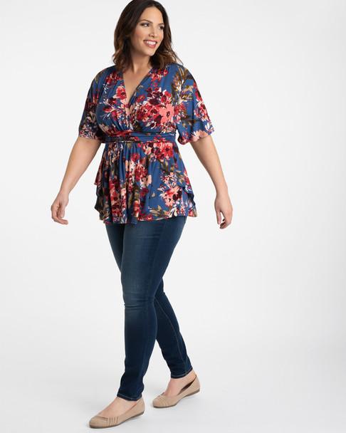 Kiyonna Women's Plus Size Promenade Top~Blue/Pink/Red*21141804