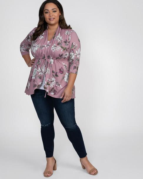 Kiyonna Women's Plus Size Lori Printed Bellini Cardigan~Pink/White/Purple*21182201