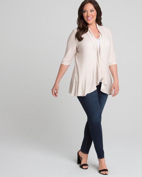 Kiyonna Women's Plus Size Felicity Flounce Cardigan~Beige/Ivory*92180201