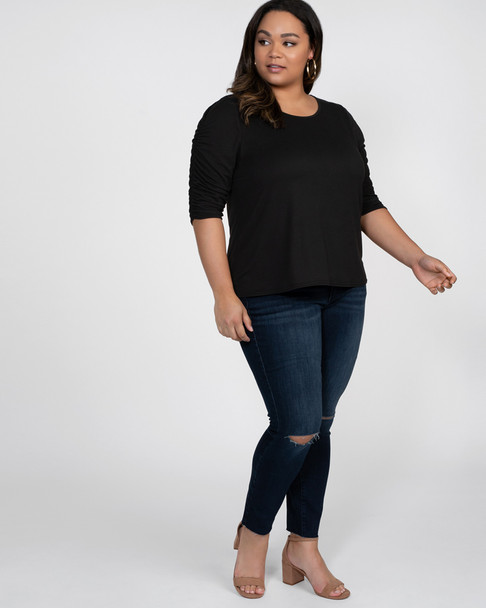 Kiyonna Women's Plus Size Reverie Ruched Top~Black*21191301