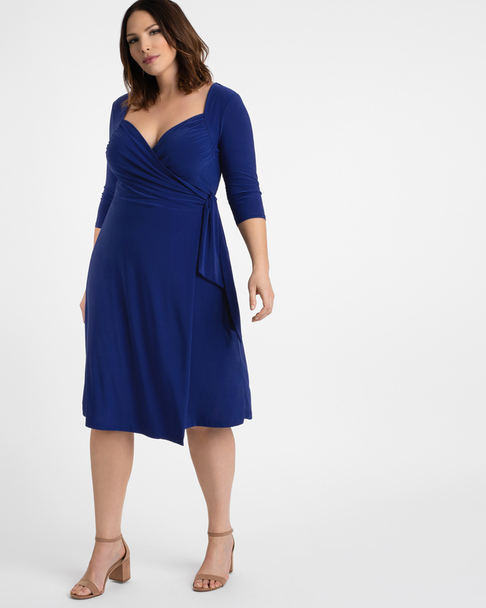 Kiyonna Women's Plus Size Sweetheart Knit Wrap Dress~Blue*11112202