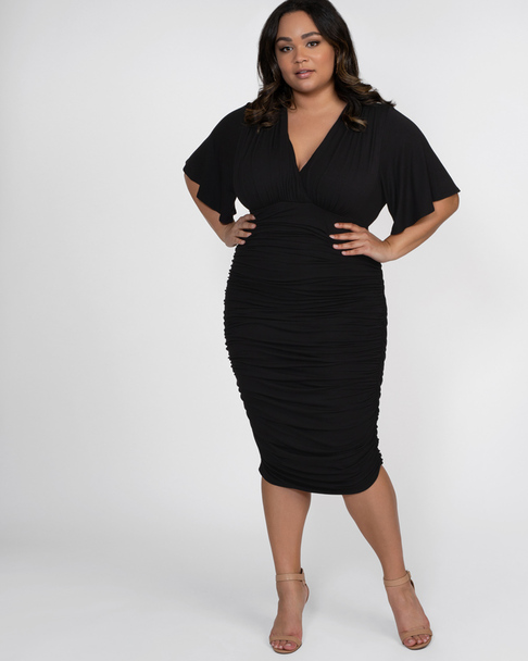 Kiyonna Women's Plus Size Rumor Ruched Dress~Black*13121806