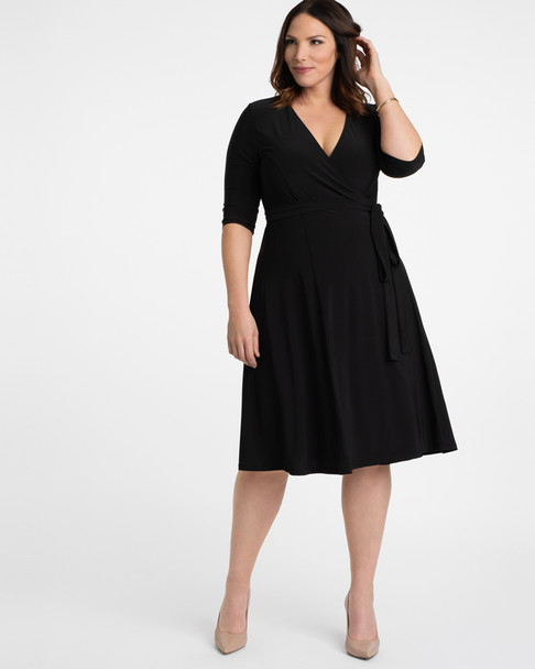Kiyonna Women's Plus Size Essential Wrap Dress~Black*12131806